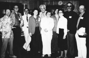 John Morressy, Brian Aldiss, James Gunn, Jean Lorrah, Fritz Leiber, Marion Zimmer Bradley, Jo Clayton, Jacqueline Lichtenberg, Barry Malzberg, John Barth; photo courtesy of FAU Special Collections, Robert A. Collins Collection