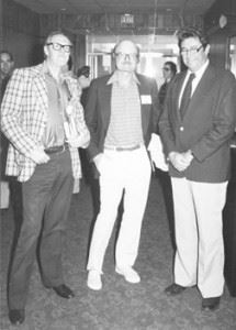 Brian Aldiss, John Barth, and FAU Dean of Humanities Jack Suberman; photo courtesy of FAU Special Collections, Robert A. Collins Collection