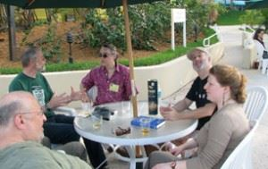 ICFA regulars poolside; photo courtesy of David G. Hartwell