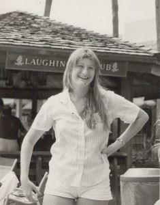 Carol McMullen in front of pool bar at ICFA 5 -- 1984 -- photo by Bob Collins, courtesy of Judy Collins McCormick