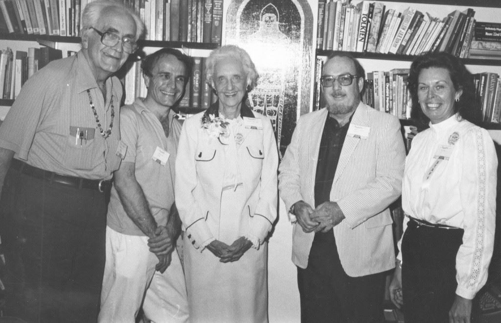 Fritz Leiber, Justin Leiber, Margaret Gaines Swann, Robert A. Collins, Joy Schwab in Collins's office at FAU, ICFA 2, 1981, photo courtesy of FAU Special Collections, Robert A. Collins Collection